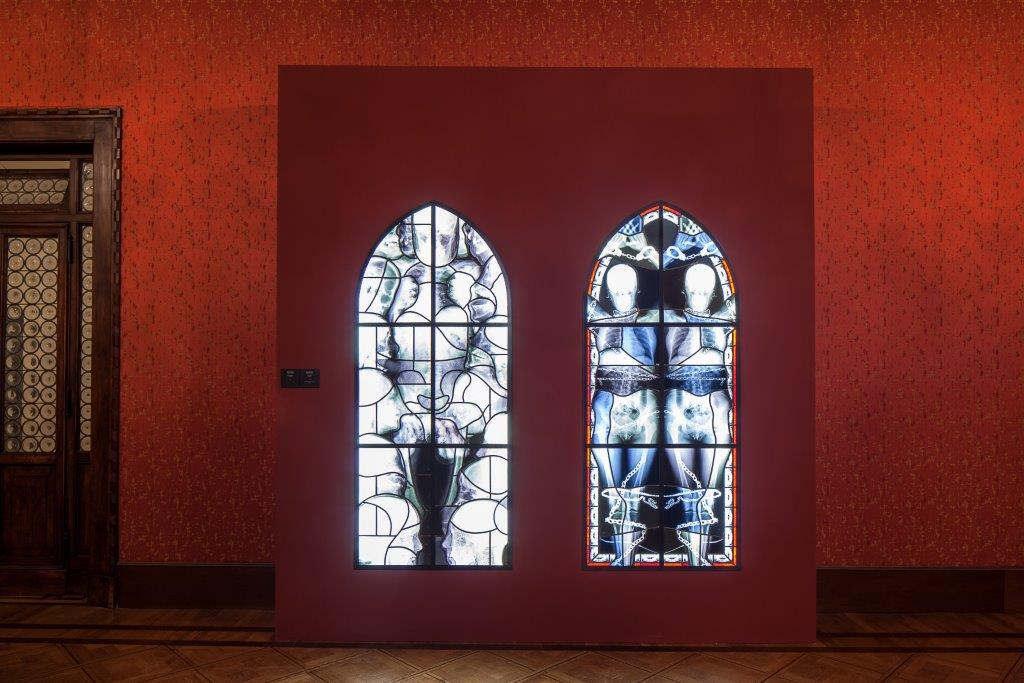 "Wim Delvoye (Belgium): Calliope, 2001 - 2002, stained glass, ""Glasstress 2015 Gotika"", Palzzo Franchetti, photo: Francesco Allegretto"